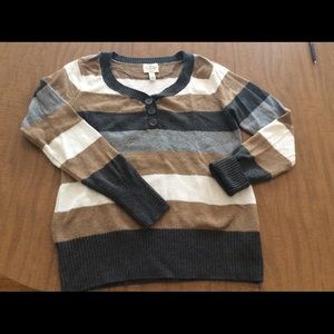 St. John's Bay striped sweater, Henley style